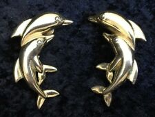 Vntag Dolphin Clip Earrings Goldtone Porpoise Fish Costume Fashion Jewelry 4046F