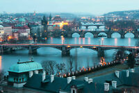 PRAGUE SKYLINE CANVAS WALL ART HOME DECOR PICTURE PRINT FRAMED 20X30 INCHES