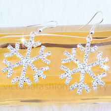 RHINESTONE SNOWFLAKE EARRINGS, Sterling Silver Plate, Winter Christmas Star Snow