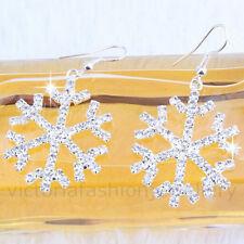RHINESTONE SNOWFLAKE EARRINGS, Sterling Silver Plate, Winter Christmas Star Snow