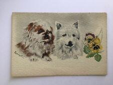 CPA Dessin de chiens et fleurs - Bernet