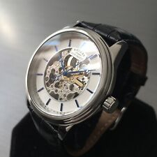 Mens Rotary Watch Steel skeleton Automatic black leather Genuine