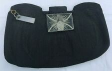 Vintage Black Corded Clutch Purse Large Carved Clear Lucite Clasp