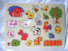 NEW CHILDRENS WOODEN FARM ANIMAL JIGSAW PEG PUZZLE BARN TREE SHEEP 19pc ACK 072