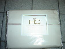 "NEW QUEEN BEIGE/BEIGE TRIM ""HOTEL"" COTTON SHEETS 400TC"