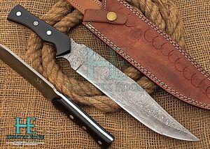 HUNTEX Custom Handmade Damascus 343 mm Long Full-Tang Buffalo Horn Bowie Knife