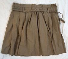 J. Crew Poplin Pleated Khaki Knee Length Brown Womens Skirt Size 8 (Y14#1790)
