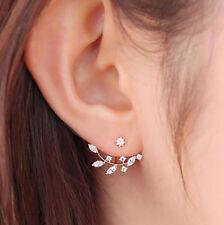 1 Pair De Mujer Elegante Cristal Pedrería Perla Oreja Pendientes Presión Joyería