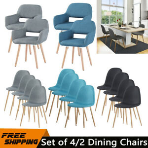 4pcs 2pcs Dining Chairs Linen Padded Seat High Back Wood Metal Legs Chair UK