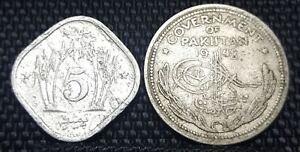 1948 Pakistan Half Rupee & 1977 One Paisa coin,2pcs (plus FREE 1 coin) #D2219