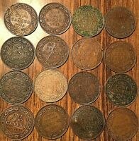 LOT OF 16 CANADA LARGE CENTS LOT OF 16 COINS