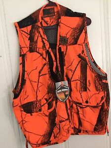 NWT Game Winner Bird Hunting Vest Orange Camo Rear Game Bag Pouch Mens Sz XL*XXL