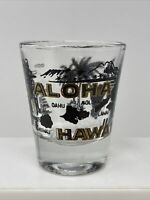 Vintage Aloha Hawaii Black & Gold Shot Glass Map Hula Souvenir