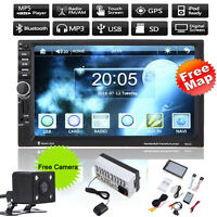 """GPS Nav 7"""" Touch 2 DIN Car MP3 MP5 Player Radio Stereo Bluetooth FM +Camera +Map"""
