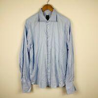 Hugo Boss Mens Button Up Shirt Size XL Blue Long Sleeve French Cuff Switzerland
