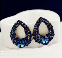 New Women Charm Drop Luxury Crystal Blue Rhinestone Earring Stud Dangle Earrings