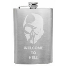 Welcome To Hell Zombie Skull 8 oz hip flask