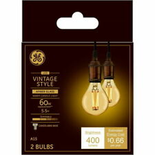 GE LED Amber Vintage Style Warm Candle Light Dimmable Candelabra Bulb A15 2 Pack