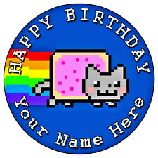 """NYAN CAT COOL FUN PARTY - 7.5"""" PERSONALISED ROUND EDIBLE ICING CAKE TOPPER"""