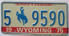 Wyoming 1975 ALBANY COUNTY SPIRIT OF '76 License Plate NICE # 5 9590