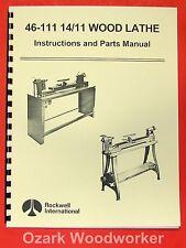 ROCKWELL 46-111 & 46-150 Lathe Operator & Part Manual 0607