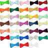 DQT Mens Bow Tie Satin Solid Plain Wedding Adjustable Pretied FREE Pocket Square