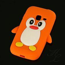 Samsung Galaxy Ace Duos S6802 Silikon Case Schutz Hülle Etui Pinguin Orange 3D
