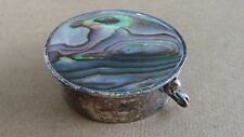Older Round Pill Box Mexico Alpaca Beautiful multi colored & layered abalone top