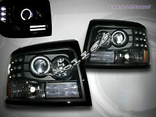92-96 FORD BRONCO F150/250/350 PROJECTOR HEADLIGHTS BLACK HALO LED HEAD LAMPS