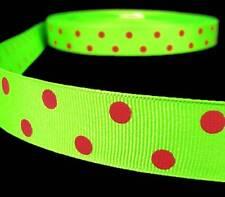 "5 Yards Christmas Green Red Polka Dot Polkadot Grosgrain Ribbon 7/8""W"