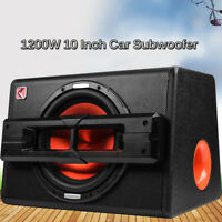 """1200W 10"""" Car Active Boxed Subwoofer BASS HIFI Powered Amplifier Amp Sub Truck"""