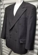 VALENTINO ITALY Pinstripe Checks Double Breasted Virgin Wool 42R 36 Sacks Fifth