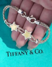 Tiffany & Co 18Ct 18K Sterling Silver Gold Double Stars 7.5 Inch Rope Bracelet