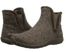 NEW Skechers Reggae Fest-Speckled Women's Chelsea Fur Boots Shoes Dark Taupe 7.5
