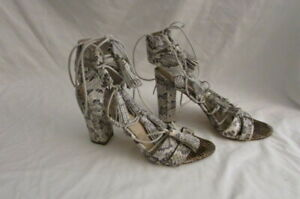 Loeffler Randal Gray Python Heel Sandals 8