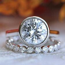 Ring Set 14K White Gold Over 10mm Solitaire Fancy Bezel Set Moissanite Bridal