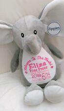 Personalised Teddy Bear Elephant. New Baby girl / boy. unique gift