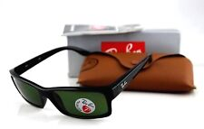POLARIZED RAY-BAN Square Active Lifestyle Black Green Sunglasses RB 4151 601/2P