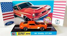 Hot Wheels 1968 SHELBY GT-500 Ford Mustang Model Car on Custom Repro Display