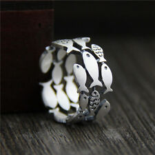 S925 Sterling Silver Ring Women's & Men Many Fish 9.4mmW US Size 5.5-8.5