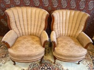 Pair Antique Channel Back Fan Back Chippendale Upholstered Chairs