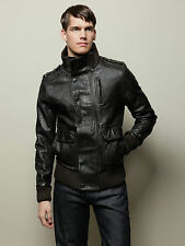 Orthodox Men Washed Leather Jacket Dark Brown Size S