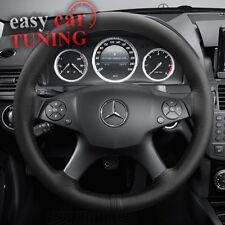 Para Mercedes Clase C W204 07-14 Negro Genuino Real Cuero Cubierta Del Volante