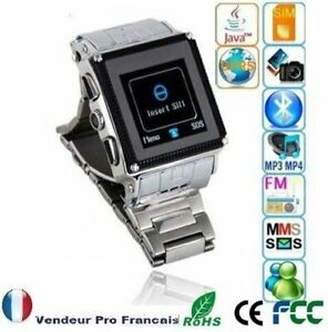 Montre Téléphone Ecran Tactile Camera Quadri-Bande Bluetooth MP3 FM Type W818