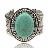 New HOT Tibet Silver Turquoise Statement Wristband Chain Cuff Bangle Bracelet