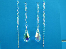 Sterling Silver .925 Swarovski Elements Teardrop Pull Through Drop Earrings