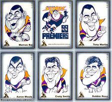 1999 Weg Art Melbourne Storm NRL Premiership Caricature Card Set (22) - Rare!