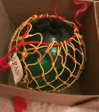 Vintage Japanese Glass Fishing Float W/Netting Christmas Ornament