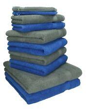 """Juego de toalla """"PREMIUM"""" de diez piezas, color: gris antracita y azul royal, ca"""