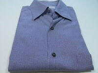Ermenegildo Zegna Men's Cotton Purple Micro-Checks Italian Casual Shirt Medium